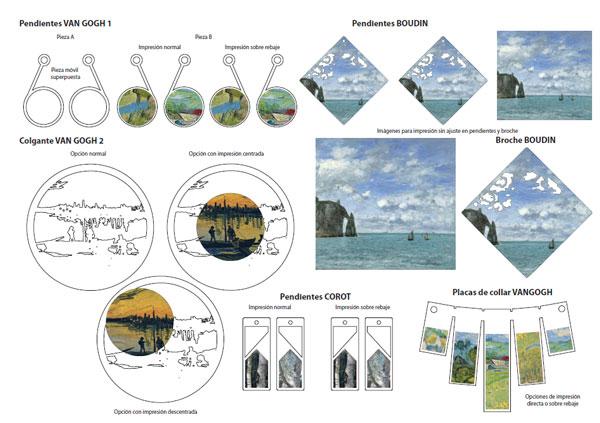 Ejemplos de diseños de bisutería basada en los cuadros