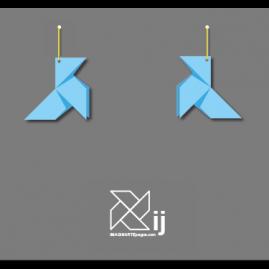 Pendientes pajarita, modelo ORIGAMI (color azul)