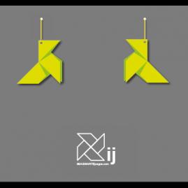 Pendientes pajarita, modelo ORIGAMI (color verde)