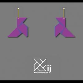 Pendientes pajarita, modelo ORIGAMI (color violeta)