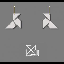 Pendientes pajarita, modelo ORIGAMI (color blanco)